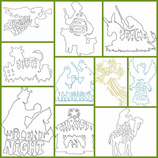 Christmas Nativity Fast Stitch Rough Edge Applique Line Art Silhouette MACHINE EMBROIDERY DESIGN 4X4, 5X7 & 6X10