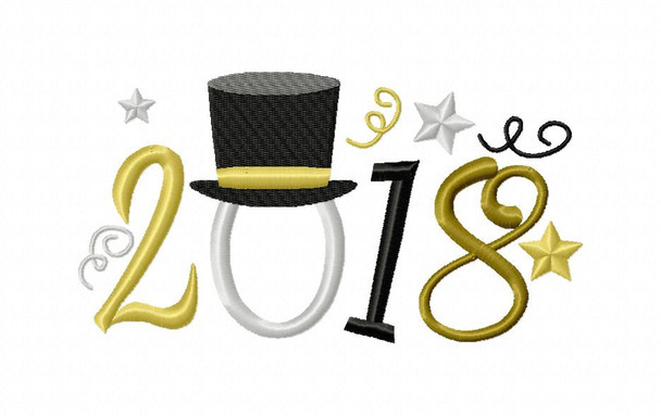 2018 NEW YEARS Word Art MACHINE EMBROIDERY DESIGN 4X4, 5X7 & 6X10
