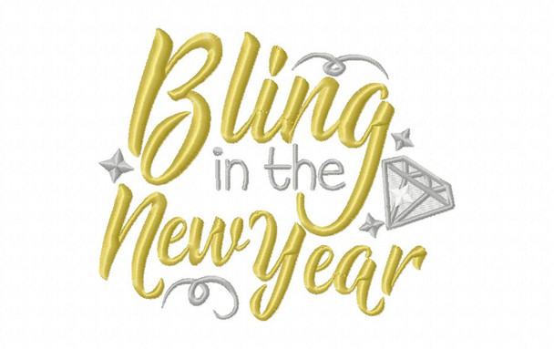 Bling in the New Year 2018 NEW YEARS Word Art MACHINE EMBROIDERY DESIGN 4X4, 5X7 & 6X10