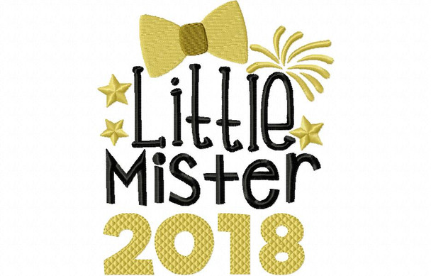Little Mister 2018 NEW YEARS Word Art MACHINE EMBROIDERY DESIGN 4X4, 5X7 & 6X10