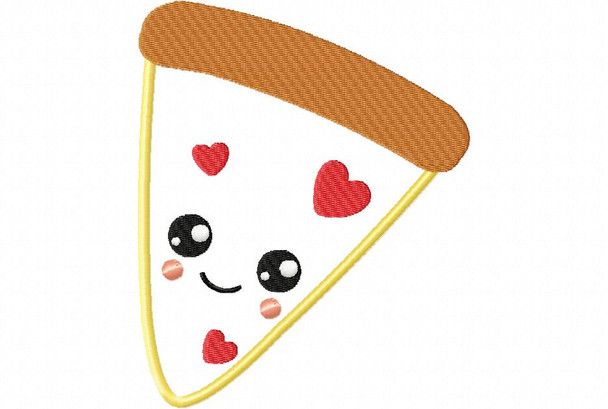 Pizza Love Valentine's Day Applique MACHINE EMBROIDERY DESIGN 4X4, 5X7 & 6X10