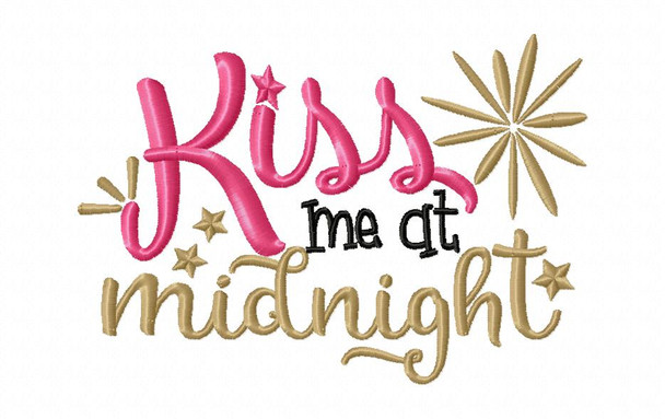 Kiss Me At Midnight Word art MACHINE EMBROIDERY DESIGN 4X4, 5X7 & 6X10
