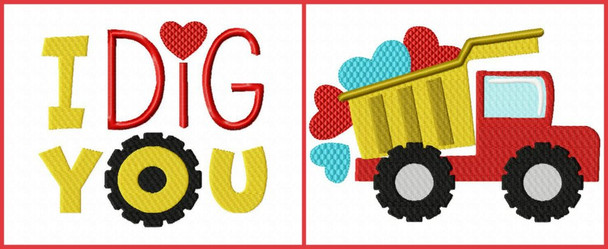 Valentine's Day Dump Truck Word Art Set 4X4 & 5X7 Machine Embroidery Design