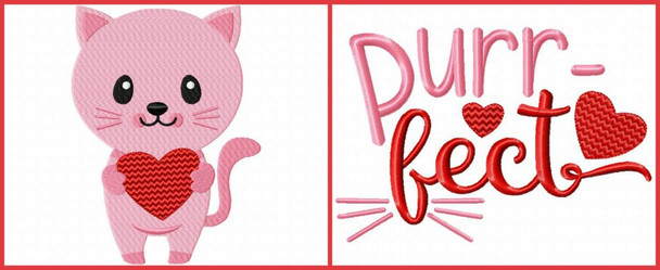 Valentine's Day Kitty Word Art Set 4X4 & 5X7 Machine Embroidery Design