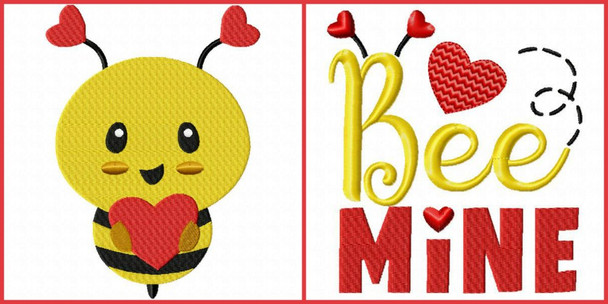 Valentine's Day Bee Word Art Set 4X4 & 5X7 Machine Embroidery Design