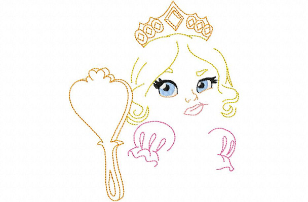 Silly Princess #1 Line Art MACHINE EMBROIDERY DESIGN 4X4, 5X7 & 6X10
