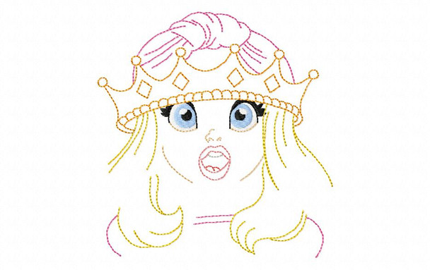 Silly Princess #2 Line Art MACHINE EMBROIDERY DESIGN 4X4, 5X7 & 6X10