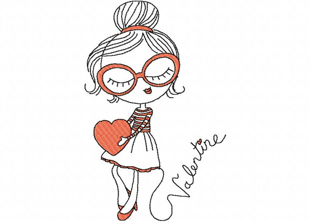 Heart Girl #1 Line Art MACHINE EMBROIDERY DESIGN 4X4, 5X7 & 6X10