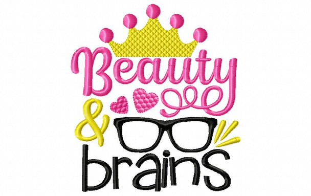 Beauty and Brains Back to School Machine Embroidery Design 4X4, 5X7 & 6X10