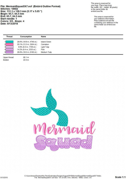 Mermaid Squad Word Art MACHINE EMBROIDERY DESIGN 4X4, 5X7 & 6X10