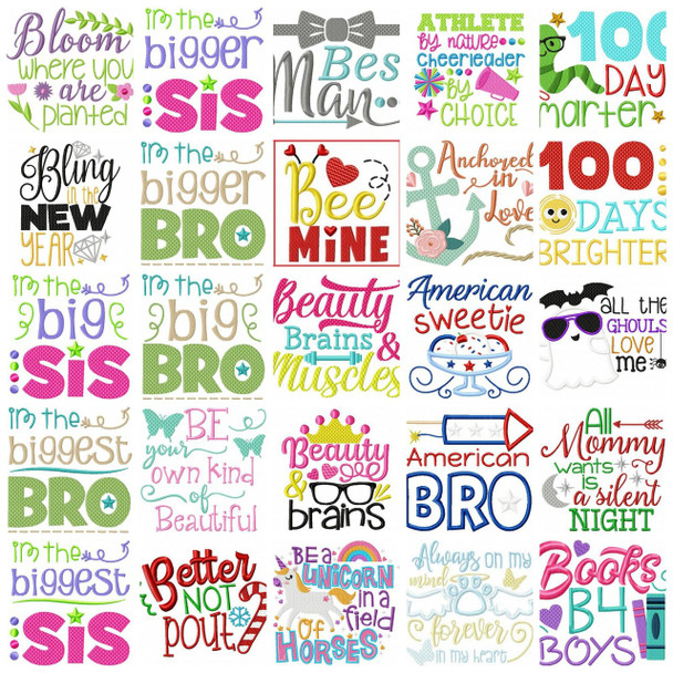 Huge Collection of OVER 180 Word Art MACHINE EMBROIDERY DESIGN 4X4, 5X7 & 6X10