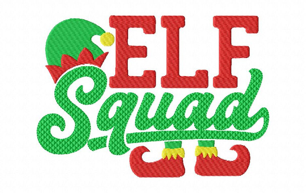 Elf Squad Christmas Word Art MACHINE EMBROIDERY DESIGN 4X4, 5X7 & 6X10