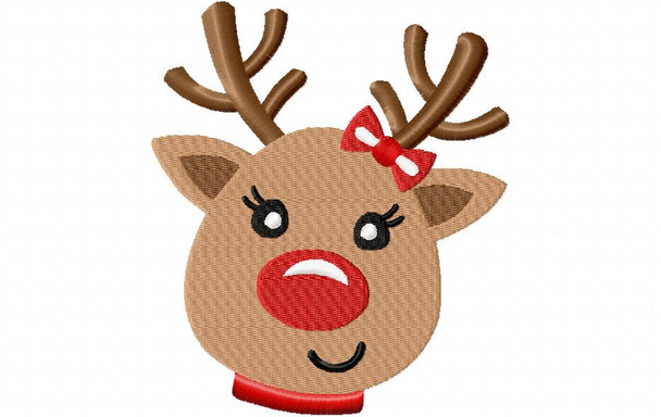 Girly Reindeer Christmas MACHINE EMBROIDERY DESIGN 4X4, 5X7 & 6X10