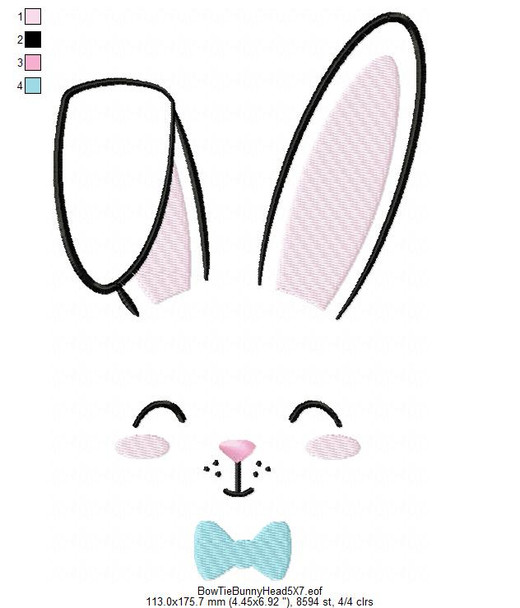 Bow Tie Bunny Face MACHINE EMBROIDERY DESIGN 4X4, 5X7 & 6X10