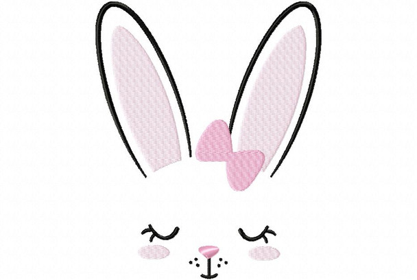 Hairbow Bunny Face MACHINE EMBROIDERY DESIGN 4X4, 5X7 & 6X10
