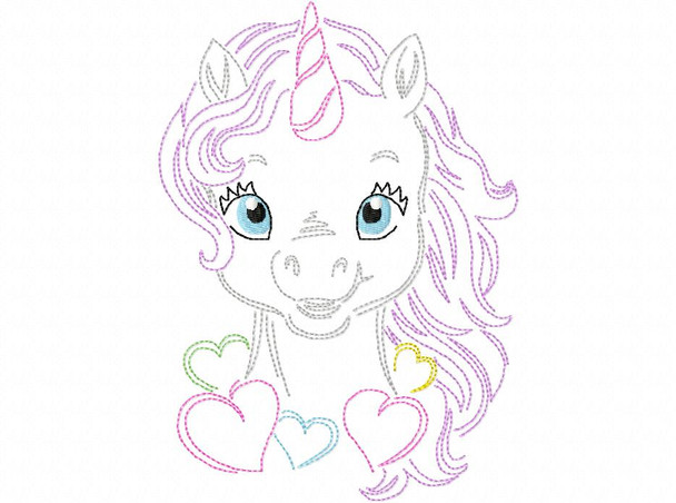 Heart Unicorn line art MACHINE EMBROIDERY DESIGN 4X4, 5X7 & 6X10