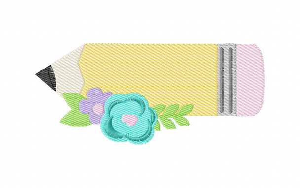 Floral Sketch Pencil Back to School MACHINE EMBROIDERY DESIGN 4X4, 5X7 & 6X10