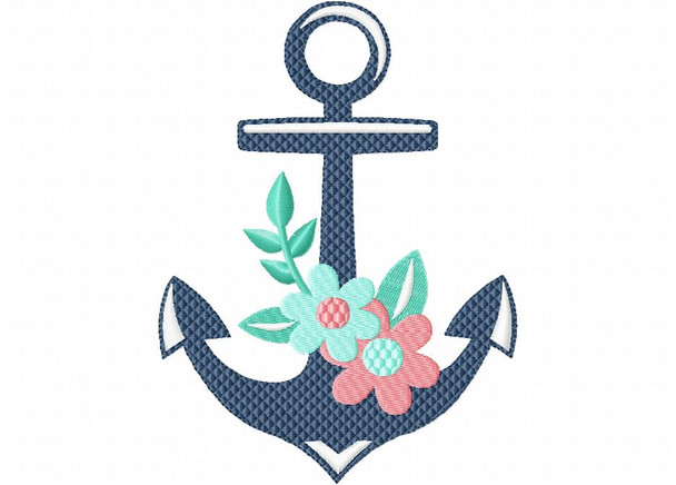 Floral Anchor Nautical MACHINE EMBROIDERY DESIGN 4X4, 5X7 & 6X10