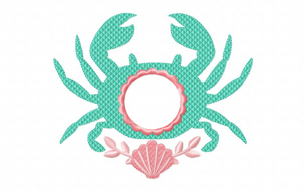 Crab Monogram Frame Anchor Nautical MACHINE EMBROIDERY DESIGN 4X4, 5X7 & 6X10