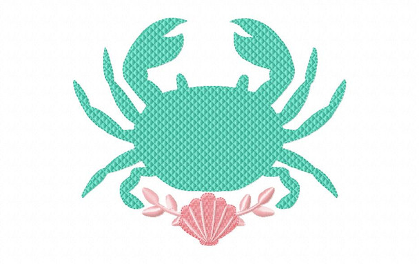Crab Floral Nautical MACHINE EMBROIDERY DESIGN 4X4, 5X7 & 6X10