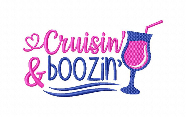 Crusin and Boosin Cruise Vacation Word Art Nautical MACHINE EMBROIDERY DESIGN 4X4, 5X7 & 6X10