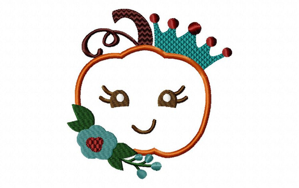 Fall Pumpkin Princess Applique MACHINE EMBROIDERY DESIGN 4X4, 5X7 & 6X10