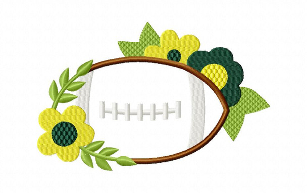 Floral Football Applique MACHINE EMBROIDERY DESIGN 4X4, 5X7 & 6X10
