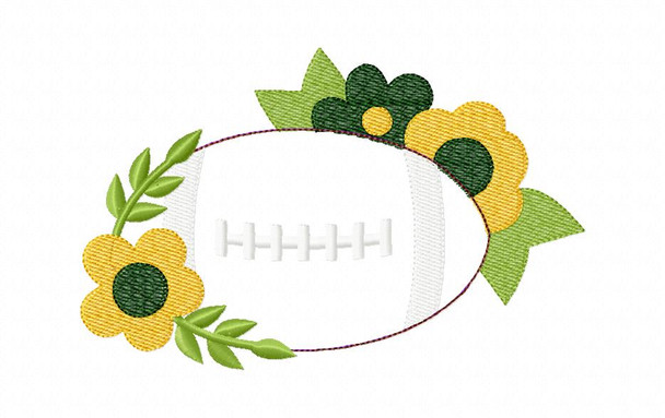 Floral Football Sketch Applique MACHINE EMBROIDERY DESIGN 4X4, 5X7 & 6X10