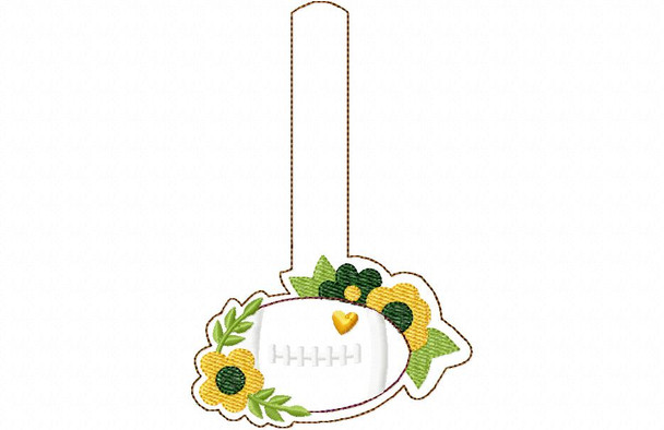 Floral Football Sketch Snap Tab MACHINE EMBROIDERY DESIGN 4X4, 5X7 & 6X10