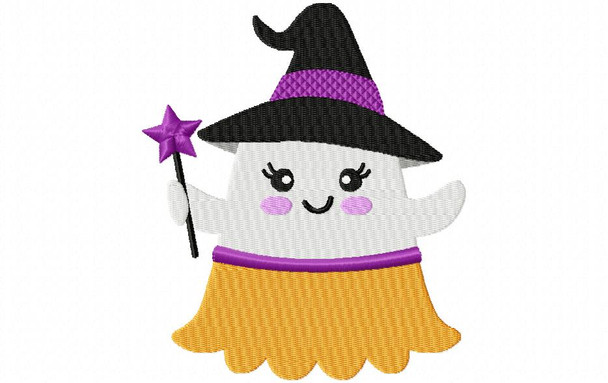 Ghost Witch Halloween EMBROIDERY DESIGN 4X4, 5X7 & 6X10