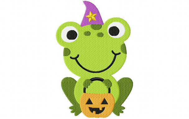 Trick or Treat Frog Halloween EMBROIDERY DESIGN 4X4, 5X7 & 6X10