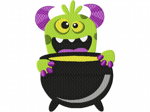 Trick or Treat Monster Halloween EMBROIDERY DESIGN 4X4, 5X7 & 6X10