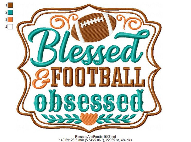 Blessed and Football Obcessed  Word Art MACHINE EMBROIDERY DESIGN 4X4, 5X7 & 6X10