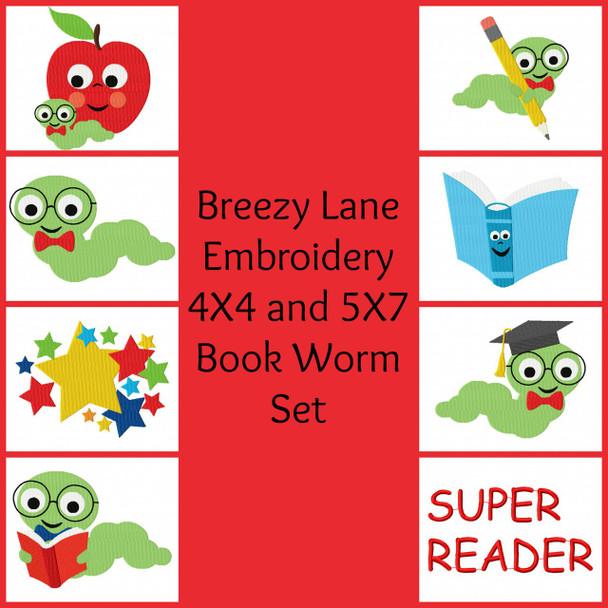 Book Worm 4X4 & 5X7 Embroidery Design Set