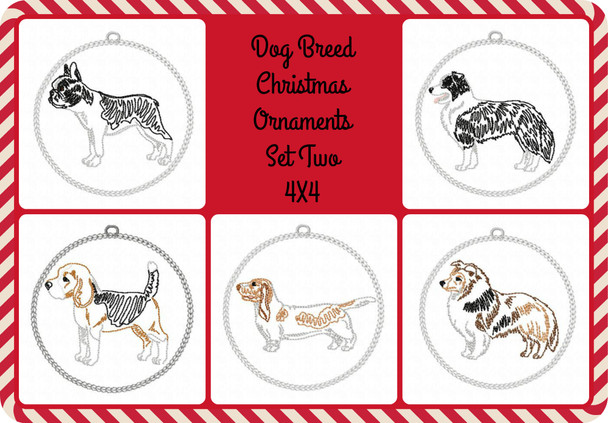 Christmas Ornament Dog Breeds Set Two In The Hoop MACHINE EMBROIDERY DESIGN 4X4