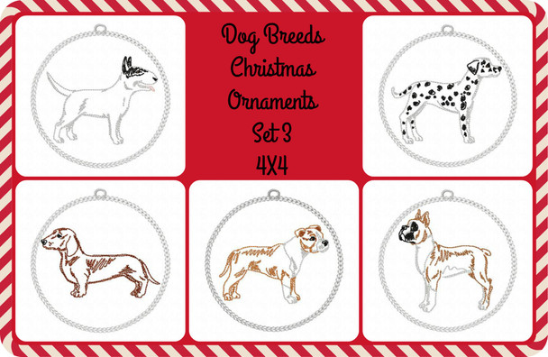 Christmas Ornament Dog Breeds Set Three In The Hoop MACHINE EMBROIDERY DESIGN 4X4