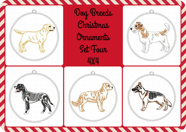 Christmas Ornament Dog Breeds Set Four In The Hoop MACHINE EMBROIDERY DESIGN 4X4