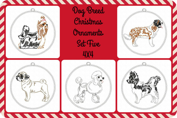 Christmas Ornament Dog Breeds Set Five In The Hoop MACHINE EMBROIDERY DESIGN 4X4