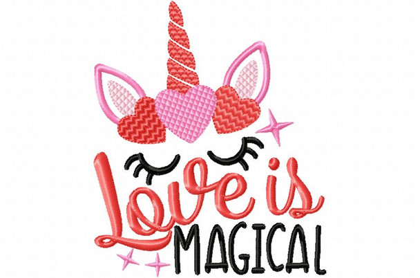 Love is Magical Unicorn Valentine's Day Word Art Machine Embroidery Design 4X4, 5X7 & 6X10