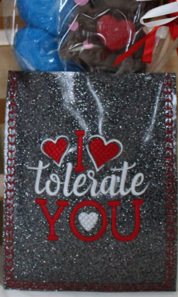 """In The Hoop Treat Bag """"I Tolerate You"""" Funny Valentine's Day Word Art Machine Embroidery Design 5X7 & 6X10"""