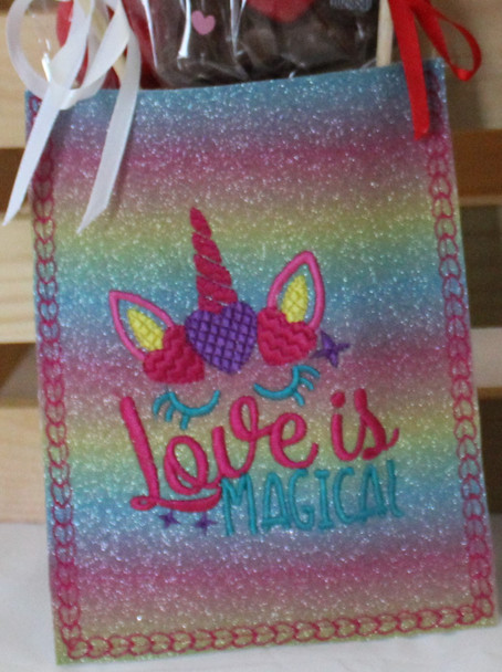 """In The Hoop """"Love is Magical"""" Unicorn Treat Bag Valentine's Day Machine Embroidery Design 5X7 & 6X10"""