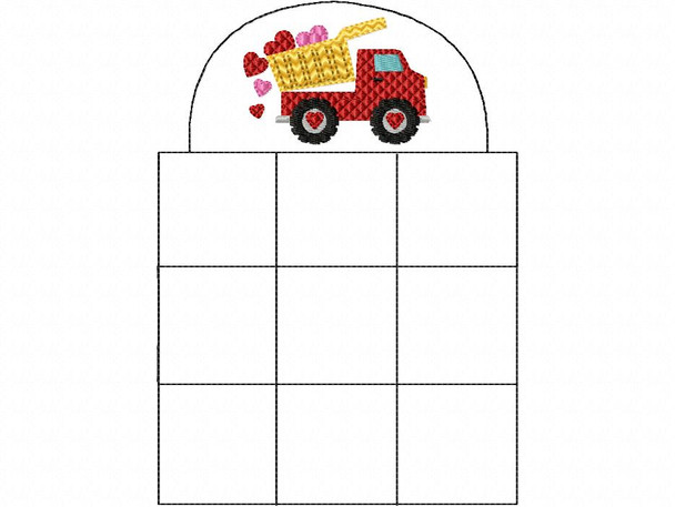 In The Hoop Contsruction Truck Tic Tac Toe Game Valentine's Day Machine Embroidery Design 5X7 & 6X10