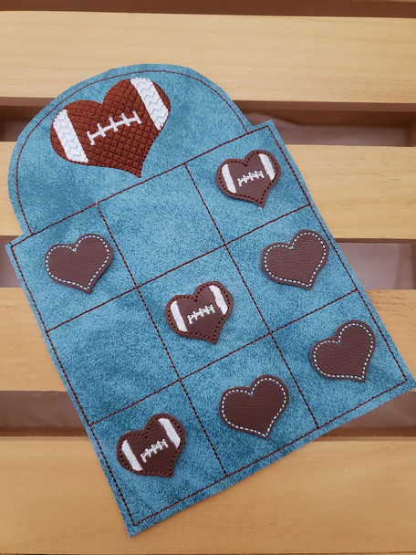 Heart Football Tic Tac Toe Game Valentine's Day Machine Embroidery Design 5X7 & 6X10