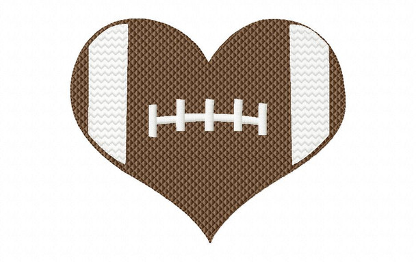 Heart Football Valentine's Day Machine Embroidery Design 4X4, 5X7 & 6X10