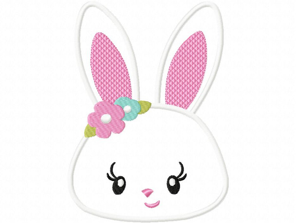 Floral Easter Bunny Face Applique Machine Embroidery Design 4X4, 5X7 & 6X10