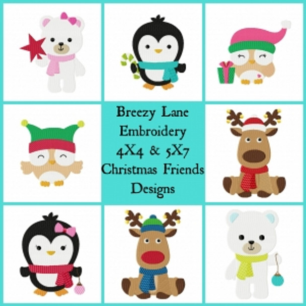 Christmas Friends 4X4 & 5X7 Embroidery Design Set