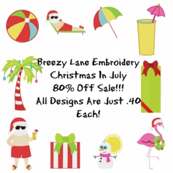 Christmas in July 4X4 and 5X7 Embroidery Machine Designs