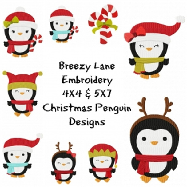 Christmas Penguins Machine Embroidery Design Set 4X4 & 5X7