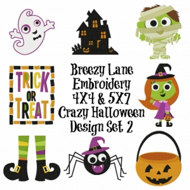 Crazy Halloween Machine Embroidery Design Set 2 4X4 & 5X7
