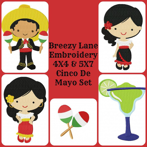 Cinco De Mayo 4X4 & 5X7 Machine Embroidery Design Set